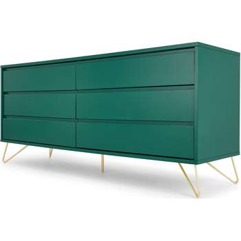 Elona Wide Chest Of Drawers, Racing Green & Brass (H70 x W160 x D45cm)