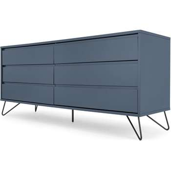 Elona Wide Chest of Drawers, Slate Blue & Black (H70 x W160 x D45cm)