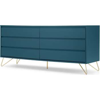 Elona Wide Chest of Drawers, Teal and Brass (H70 x W160 x D45cm)