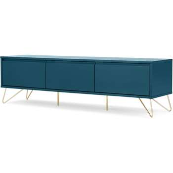 Elona Wide Media Unit, Teal and Brass (H46 x W160 x D40cm)