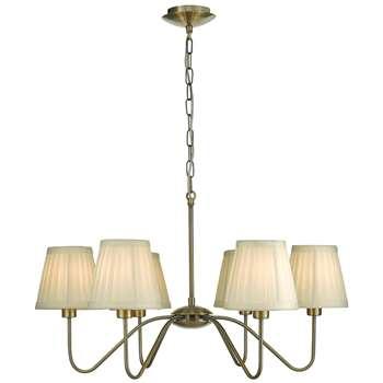 Elowen 6 Light Ceiling Light Antique Brass (H120 x W65 x D65cm)