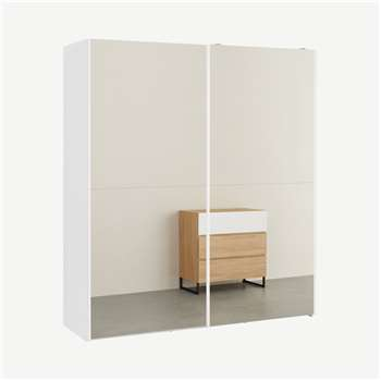 Elso Sliding Wardrobe, White Frame with Mirror Doors (H206 x W180 x D62cm)