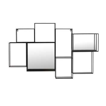 ELTON Black Metal Wall-Mount Shelf with Mirror (70 x 111cm)