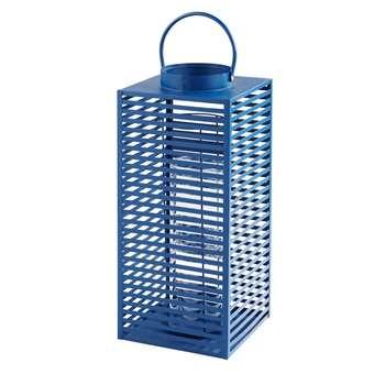 ELVA Blue Metal and Glass Lantern (60 x 25cm)