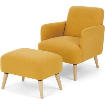 Elvi Accent Armchair and Footstool, Butter Yellow (H80 x W61 x D76cm)