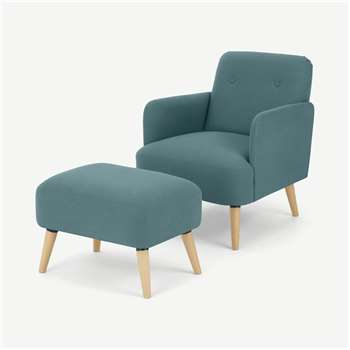Elvi Accent Armchair and Footstool, Sherbet Blue (H80 x W61 x D76cm)