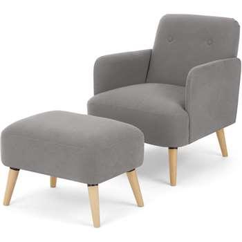 Elvi Accent Armchair & Footstool, Marshmallow Grey (H80 x W61 x D76cm)