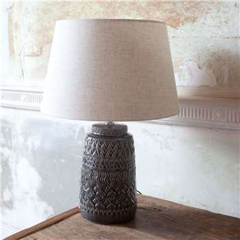 Embossed Ceramic Lamp with Shade (Height 51cm)