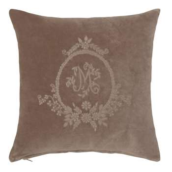 Embroidered Grey Cotton Cushion Cover (H40 x W40cm)