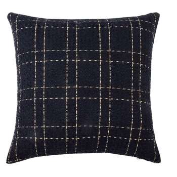 Embroidered Midnight Blue and Gold Cushion Cover (H40 x W40cm)