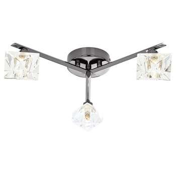 Emilia 3 Light Semi Flush Ceiling Light Black Chrome (H11.5 x W42 x D42cm)