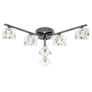 Emilia 6 Light Semi Flush Ceiling Light Black Chrome (H60 x W115 x D115cm)