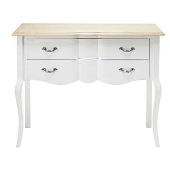 EMILIE Paulownia and white pine 2-drawer console table (85 x 110cm)