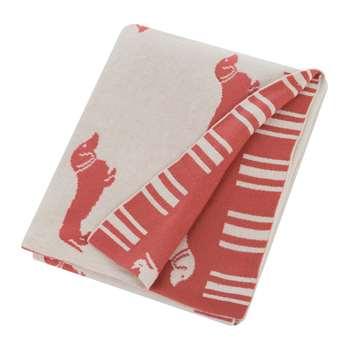 Emily Bond - Knitted Dachshund Throw - Pink (H130 x W170cm)