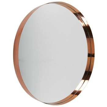 EMMY Round Copper-Coloured Metal Mirror (Diameter 90cm)