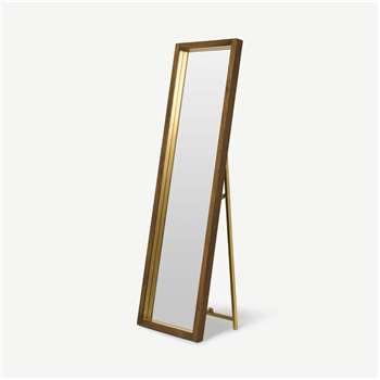 Emsworth Freestanding Mirror, Mango Wood & Brass (H160 x W48 x D35cm)