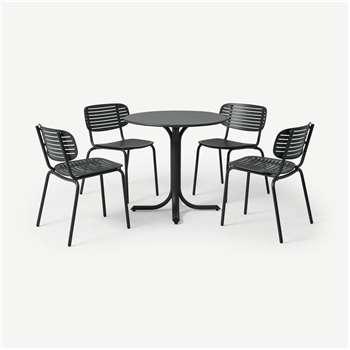 Emu 4 Seat Garden Dining Set, Dark Grey Powder-Coated Steel (H75 x W80 x D80cm)