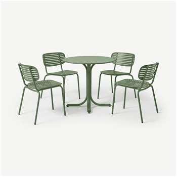 Emu 4 Seat Garden Dining Set, Green Powder-Coated Steel (H75 x W80 x D80cm)