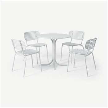 Emu 4 Seat Garden Dining Set, White Powder-Coated Steel (H75 x W80 x D80cm)