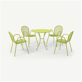 Emu 4 Seat Round Garden Dining Set, Chartreuse Powder-Coated Steel (H74 x W105 x D105cm)