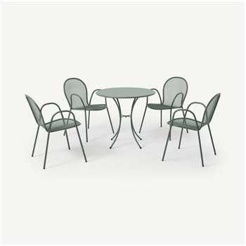 Emu 4 Seat Round Garden Dining Set, Dark Green Powder-Coated Steel (H74 x W105 x D105cm)
