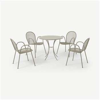 Emu 4 Seat Round Garden Dining Set, Soft Grey Powder-Coated Steel (H74 x W105 x D105cm)