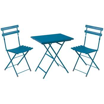 EMU Arc En Ciel Steel Garden Bistro Table and Chairs Set, Blue