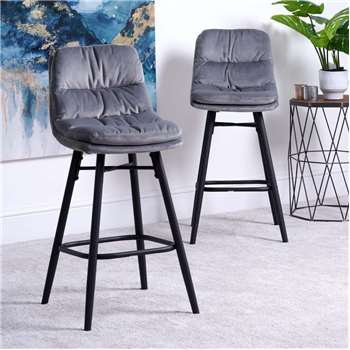 Enderson Set of 2 Bar Stools - Light Grey (H99 x W43 x D52cm)