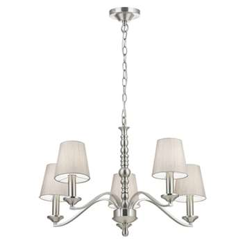 Endon Astaire 5 Light Ceiling Light Satin Nickel (H152 x W62 x D62cm)