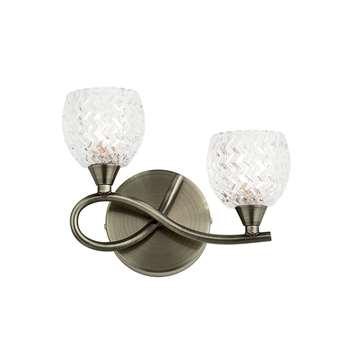 Endon Boyer 2 Light Wall Light Antique Brass (H16.5 x W21.5 x D9.5cm)