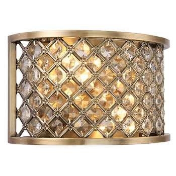 Endon Hudson 2 Light Wall Light Brass (H15 x W25.5 x D10.5cm)