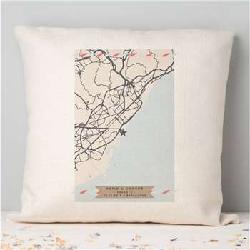 Engagement Gift Any Map Cushion (H40 x W40cm)