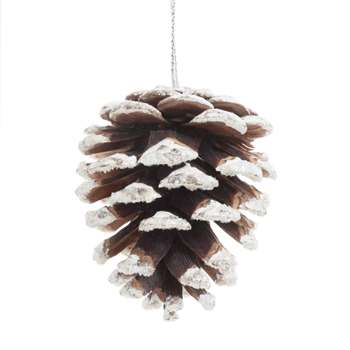 ENNEIGEE - Snow-Coated Pine Cone Christmas Hanging Decoration, Set of 12 (H4 x W5 x D4cm)