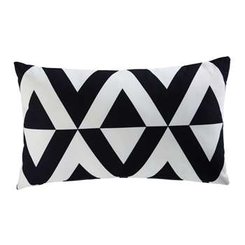 ENOHA black and white fabric graphic outdoor cushion 30 x 50 cm