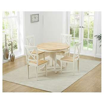Epsom Cream Pedestal Extending Dining Table with Four Chairs (H76 x W100-131 x D100cm)