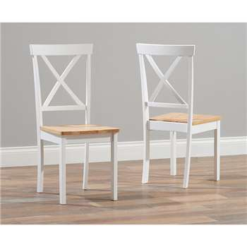 Epsom Oak and White Dining Chairs, Set of Two (H91 x W42 x D39cm)