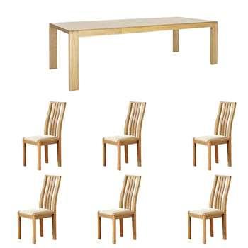 Ercol Bosco - 1 Table 6 Chairs - White Seat Chairs (H74 x W175 x D90cm)