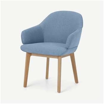 Erdee Carver Dining Chair, Maya Blue Weave (H80 x W62 x D60cm)
