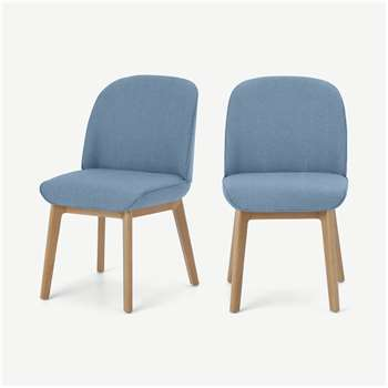 Erdee Set of 2 Dining Chairs, Maya Blue Weave (H84 x W50 x D59cm)