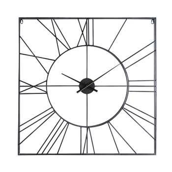 ERNEST Square Black Metal Clock (80 x 80cm)