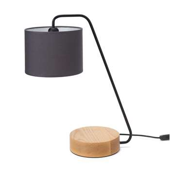Ervedal Table Lamp, Charcoal, Black & Natural With Black Cord 48 x 38cm