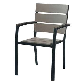 ESCALE Aluminium garden armchair in charcoal grey (88 x 57cm)