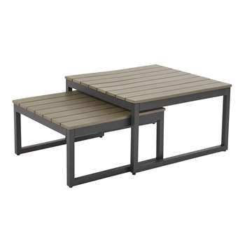 ESCALE Anthracite Grey Aluminium Garden Nest of Tables (H41 x W71.5 x D71.5cm)