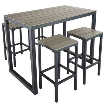 ESCALE Composite Garden Bar Table with 4 Chairs (97 x 128cm)