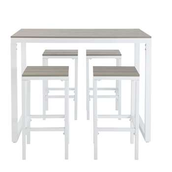 ESCALE Composite Garden Bar Table with 4 Chairs White (97 x 128cm)