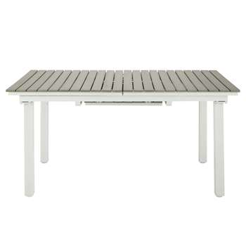 ESCALE 6-10 Seater Extending Garden Table in Imitation Wood Composite and Aluminium (H76 x W157 x D90cm)