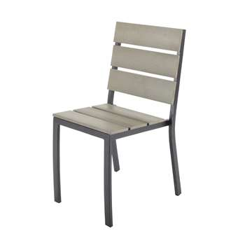 ESCALE Garden chair in aluminium and imitation wood composite, natural grey (88 x 47cm)