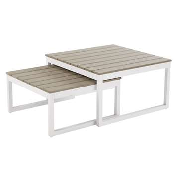 ESCALE White Aluminium Garden Coffee Nest of Tables (H41 x W71.5 x D71.5cm)