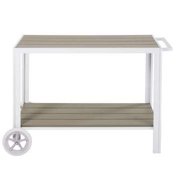 ESCALE White Aluminium Outdoor Serving Trolley (H75 x W114 x D55cm)