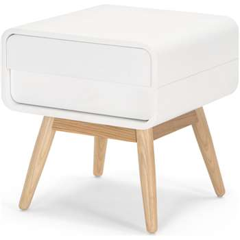Esme Bedside Table, White and Ash (45 x 42cm)